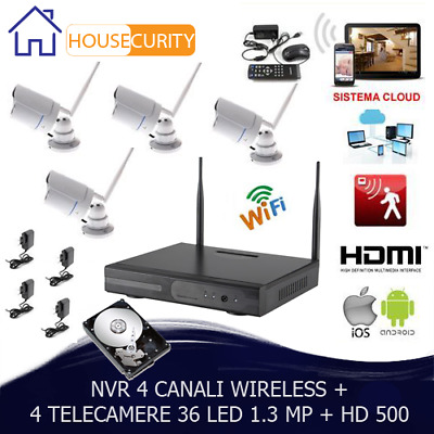 Kit Videosorveglianza Wireless  Dvr Nvr  4 Canali 4 Telecamera Wireless+ Hd 500
