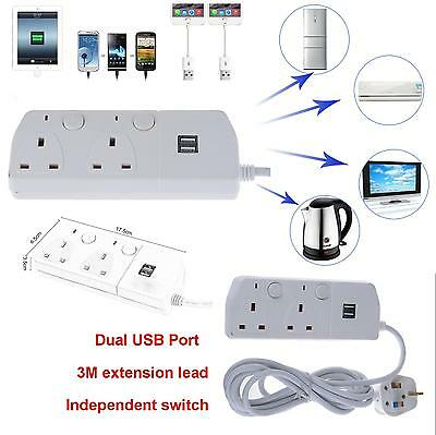 UK 2 Gang Way 2 USB 13A Trailing switch Socket Mains Power Extension Lead 3M