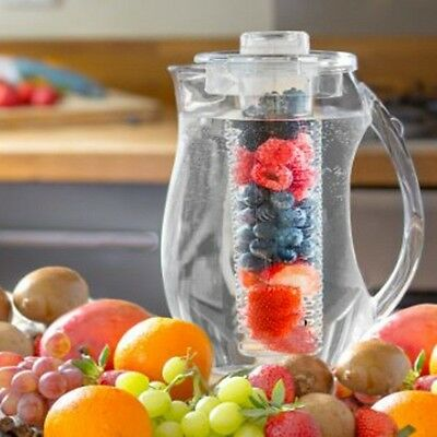 Fruit Infusion Pitcher Jug 2L With Ice Core Flavour Infuser Water Party