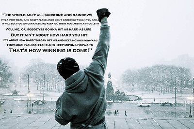 Rocky Balboa Quote Typography Gym Boxing Giant Art Poster - A0 A1 A2 A3 A4 Sizes
