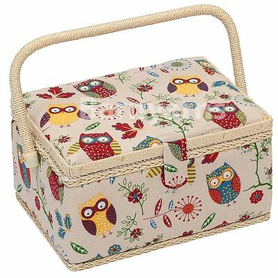 MEDIUM Sewing Box - Fabric Sewing Basket, Handle & Removable Tray OWLS on Cream