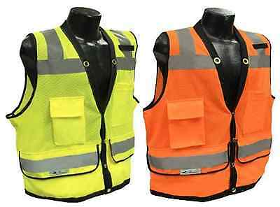 Radians SV59 Class 2 Heavy Duty Surveyor Safety Vest Mesh Solid Orange/Green