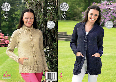 King Cole Ladies Knitting Pattern Raglan Sleeved Cardigans Fashion Aran 4348