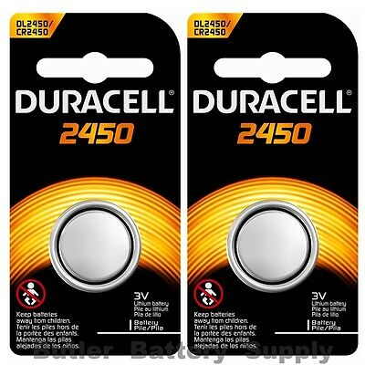 2 x 2450 Duracell Lithium 3V Coin Cell Batteries (CR2450, DL2450, ECR2450)
