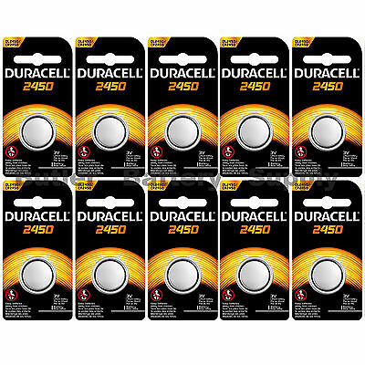 10 x 2450 Duracell Lithium 3V Coin Cell Batteries (CR2450, DL2450, ECR2450)