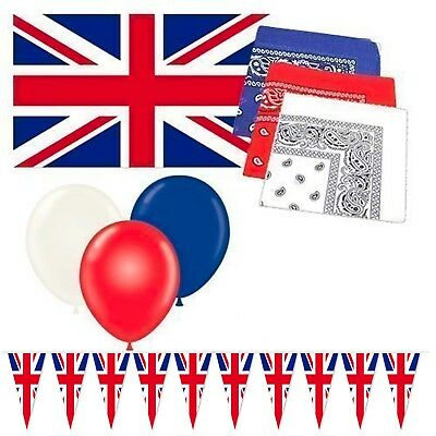 British Union Jack Party Decoration Bundle - Flag / Bunting / Balloons & Bandana