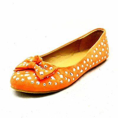 Girls Orange studded with bow detail flat faux suede shoes - CLEARANCE