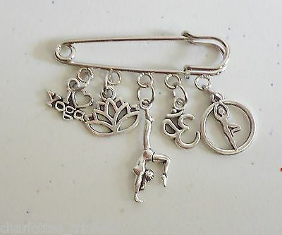 I love Yoga Lotus OM Meditation Brooch Kilt Pin