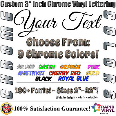 3 custom chrome lettering decal sticker vinyl boat registration numbers letters
