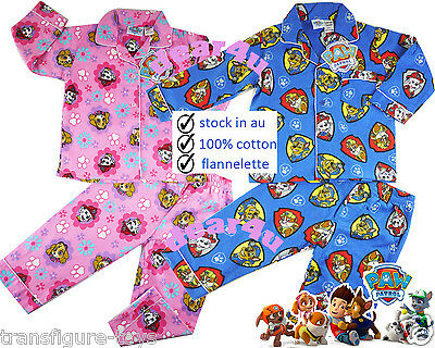 Paw Patrol boys girls flannelette pjs pyjamas flannel winter sleepwear size 1-5