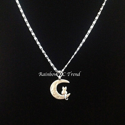 Gorgeous Silver Cat On Crescent Moon Charm Pendant On Starry Necklace Chain