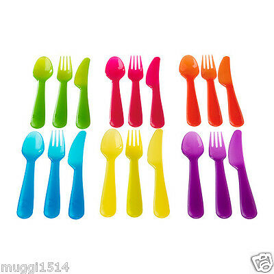 IKEA KALAS 18 Piece Cutlery Set Assorted Colours Children Baby Party Gift