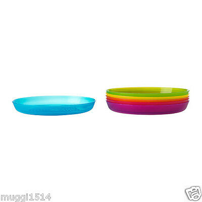 IKEA KALAS Plate Assorted Colours Baby Children Utensil Party 6 Pack