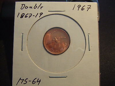 Canada One Cent 1967 Double 1867-19,  Ms-++++!!!!!