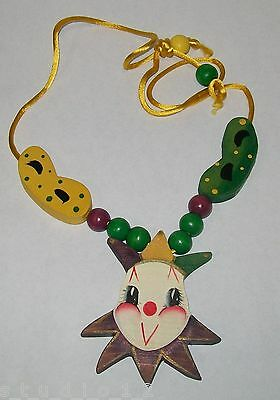 Vintage Hand Made Wood Wooden Beads Mask Jester Mardi Gras Necklace Signed 80's