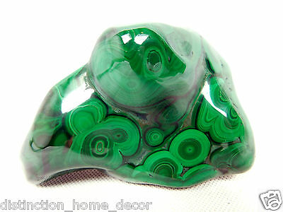 2)Large Green Polished Banded Malachite Crystal / Mineral From Congo Copper 506g
