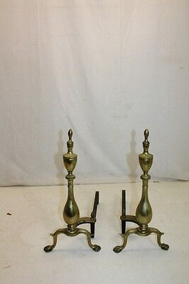 Charming Pair of Regency Style Brass Puritan Andirons, Fireplace, 19th Century