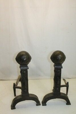 Antique Heavy Pair of Arts & Crafts Cast Iron Andirons, Fireplace, American Made