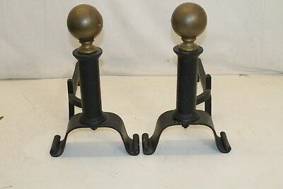 Antique Pair of Arts & Crafts Style Cast Iron Andirons, Original Patina