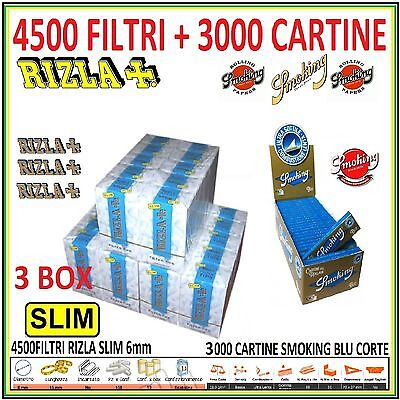 4500 FILTRI RIZLA SLIM 6mm + 3000 CARTINE SMOKING BLU CORTE + accendino