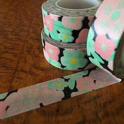 Washi Tape Pink/mint Floral On Black 15Mm Wide X 10Mtr Roll Craft Wrap Plan