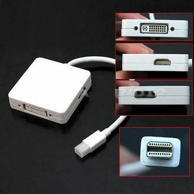3 in 1 Mini Displayport to HDMI DVI DP Thunderbolt Adapter Cable for MacBook Pro