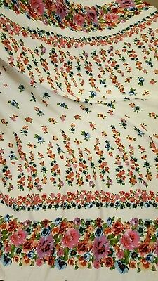 55 inches wide reversible French cotton embroidered with blue flower