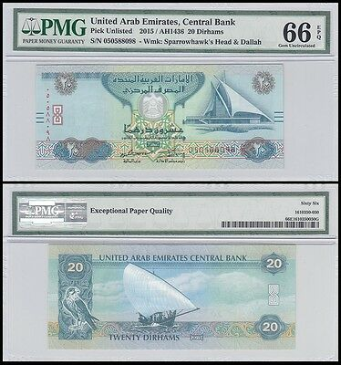 United Arab Emirates - UAE 20 Dirhams, 2015, P-NEW, PMG 66