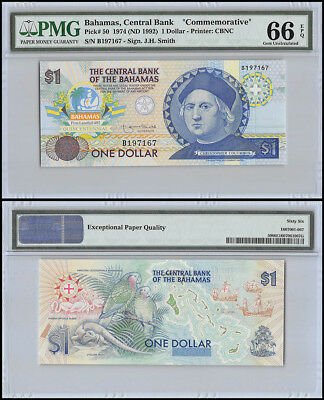 Bahamas $1 Dollar, 1974 (ND 1992), P-50, Colombus Commemorative, PMG 66 EPQ