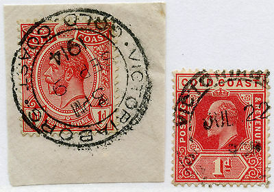 GOLD COAST VICTORIABORG POSTMARKS on KE7 1d + KG5 1d