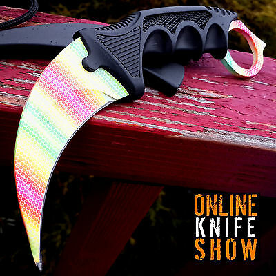 TACTICAL COMBAT KARAMBIT NECK KNIFE Survival Hunting BOWIE Fixed Blade NEON FADE