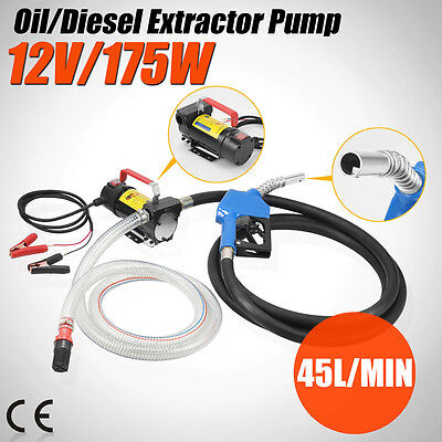 12V DC Electric Fuel Transfer Pump Diesel Kerosene Oil Commercial Auto Portable
