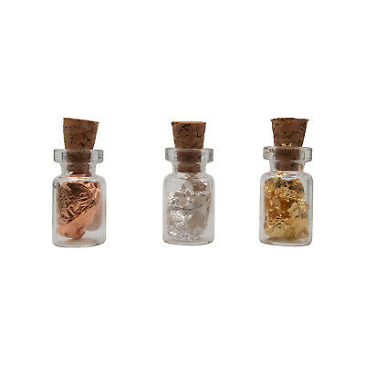 3 Tiny Cork bottles filled with 24K Gold Au .999 Silver Ag & .999 Pure Copper Cu