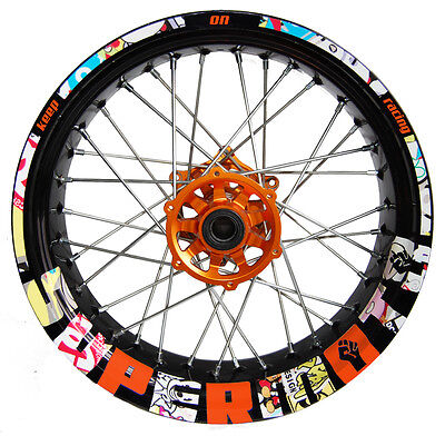 Supermoto Stickerbomb orange - Motorrad Felgenaufkleber wheel sticker (KTM,SMC)