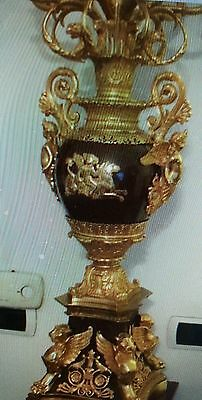 Dore bronze and lapis large empire candelabras
