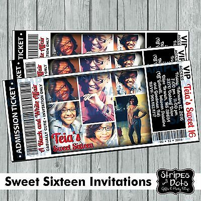 Sweet Sixteen Invitations-Ticket Invitations-Photo Invitations-XV Años Invites