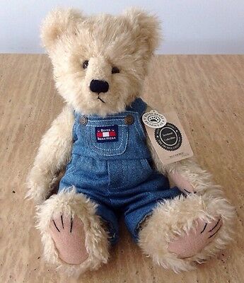 """Boyds Bears 14"""" Investment Collectible Billy Bob Bruin Tan Plush Denim Overalls"""