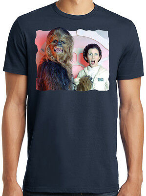 PubliciTeeZ Funny Star Wars Chewbacca Princess Leia backstage T-shirt S-7XL