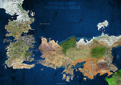 Poster A4 Plastifie-Laminated(1 Free/1 Gratuit)* Games Of Thrones Westeros Map.3