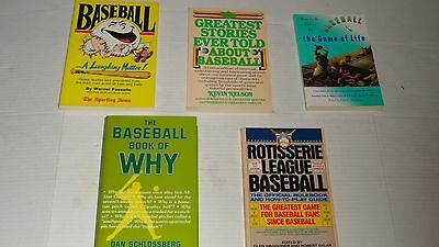 Lot of (5) Baseball Books - Greatest Stories, Rotisserie League, Game of Life