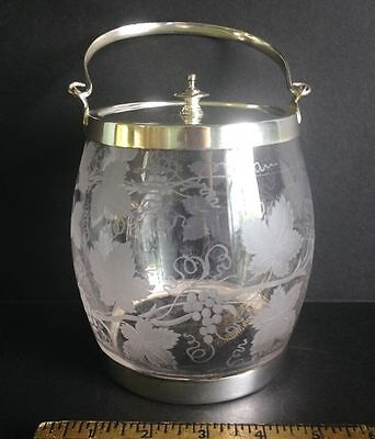 Antique English Etched Glass & silver-plate Biscuit Barrel - grape leaf design