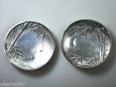 2 Antique Japanese Export Silver Tray Dish Arthur Bond Bamboo Meiji Japan 1800