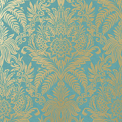 Signature Teal And Gold Damask Wallpaper By Crown Floral Leaf