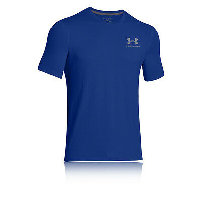 Under Armour Sportstyle Logo Sul Petto Uomo Blu Palestra Corsa T-Shirt Top