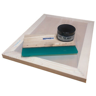 """Value Screen Printing Kit A3 frame 43T 55T 77T 90T 120T 12"""" Squeegee 100ml ink"""