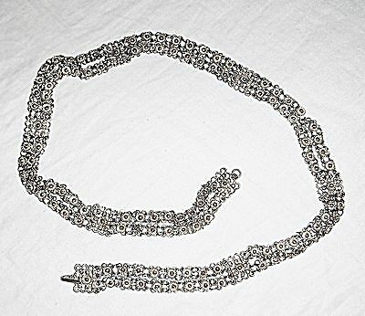 60S 70S Hippy Vintage Indian Silver Double Row Belly Chain Belt Hooks Any Where.