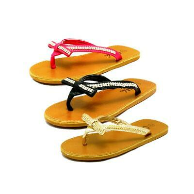 Girls faux leather diamante studded bow front flip flops sandals - CLEARANCE