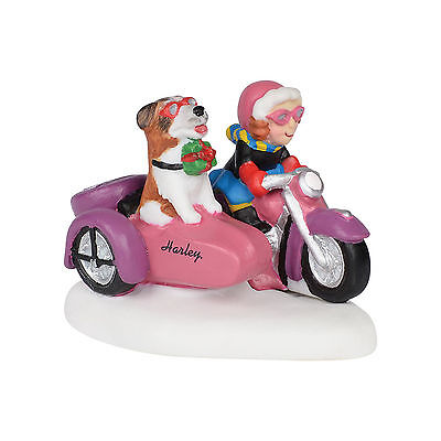 Dept 56 NORTH POLE REBEL WITH A DOG Harley Davidson Motorcycle Sidecar New