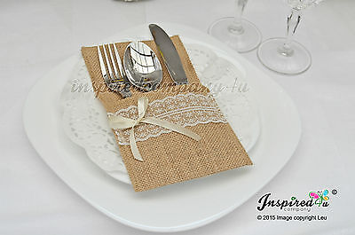 25 x Wedding Cutlery Holders Burlap / Hessian Table Decor Centerpieces Party #3