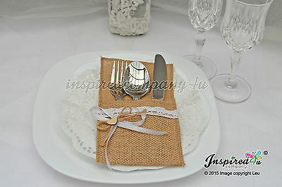 25 x Wedding Cutlery Holders Burlap Hessian Table Decor Scalloped Lace Heart #11